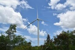 An undamaged and operating wind turbine generator in Santa Isabel, Puerto Rico