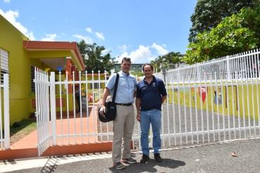 Jim Tinjum and Carlos Velazquez (Hogar Executive Board) outside of the Hogar on a beautiful day in Puerto Rico